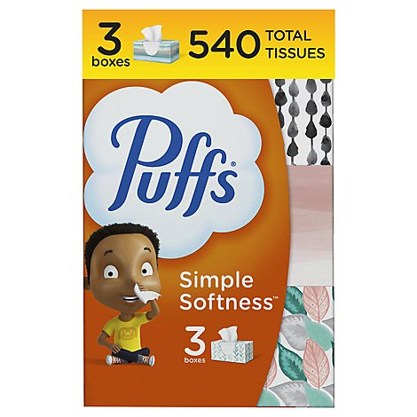 Puffs Facial Tissue Non Lotion White 3 Pack - 3-180 Count