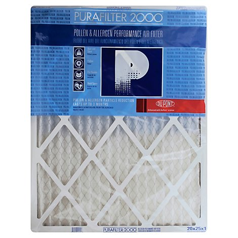 Purafilter 2000 Air Filter Pollen & Allergen Performance 20 x 25 x 1 Inch - Each