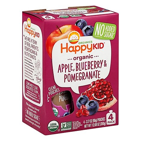 Happy Squeeze Organic Super Blended Fruit Snack Apple Blueberry & Pomegranate Pouch - 4-3.17 Oz