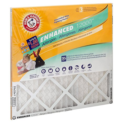 ARM & HAMMER Air Filter Enhanced 12000 Allergen 20 X 20 X 1 Inch - Each
