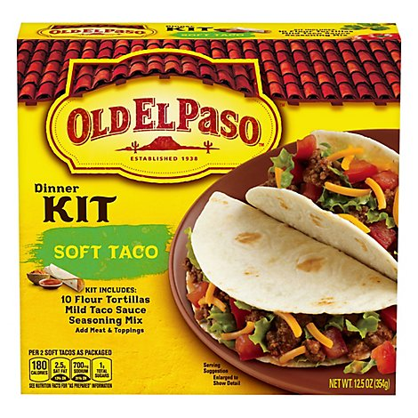 Old El Paso Tortillas Flour Dinner Kit Soft Taco Box 10 Count - 12.5 Oz