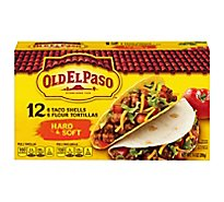Old El Paso Taco Shell & Tortillas Flour Hard & Soft Box 12 Count - 7.4 Oz