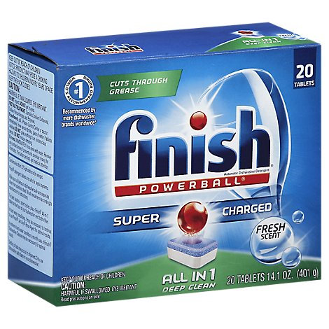 Finish Dishwasher Detergent Powerball All In 1 Tablets Fresh Scent 20 Count - 13 Oz