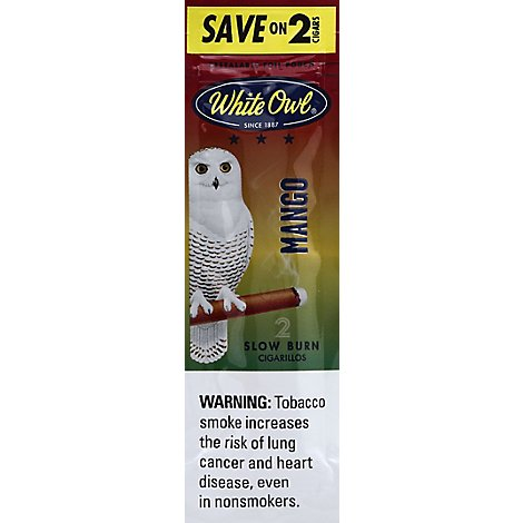 White Owl Cigarillos Slow Burn Mango - 2 Count