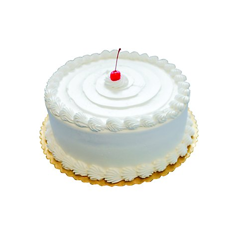 Bakery Cake 8 Inch 2 Layer Vanilla Icing Shelf Stbl - Each