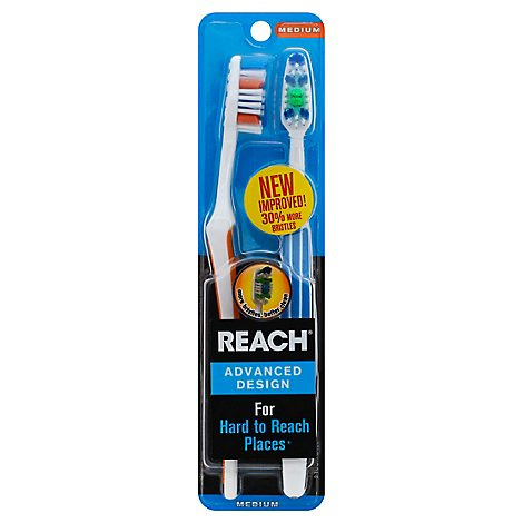 Reach Toothbrushes Plaque Defense Medium Value Pack - 2 Count