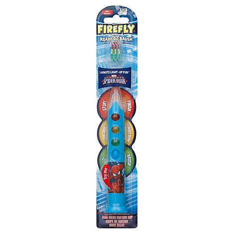 Firefly Light-Up Toothbrush Soft Spiderman Theme - Each