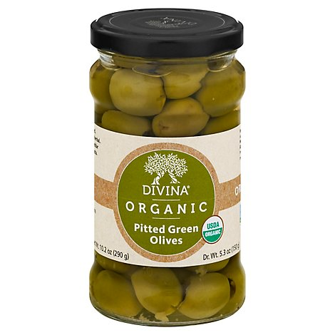 Divina Olives Organic Green Pitted - 6 Oz