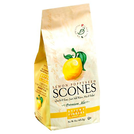 Sticky Fingers Scones Premium Mix Lemon Poppyseed - 15 Oz