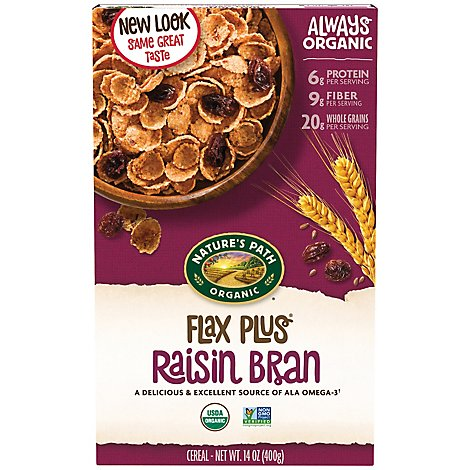 Natures Path Organic Flax Plus Cereal Raisin Bran - 14 Oz