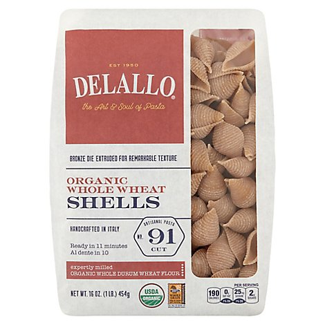 DeLallo Pasta Organic 100% Whole Wheat No. 91 Shells Bag - 16 Oz