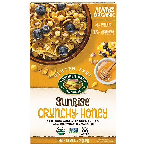 Natures Path Organic Sunrise Cereal Gluten Free Crunchy Honey - 10.6 Oz