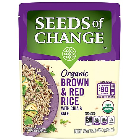 SEEDS OF CHANGE Organic Rice Brown & Red With Chia & Kale - 8.5 Oz