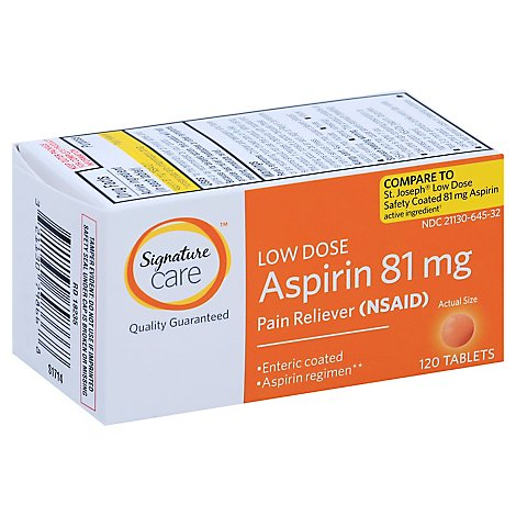 Signature Care Aspirin Pain Relief 81mg NSAID Low Dose Enteric Coated Orange Tablet - 120 Count