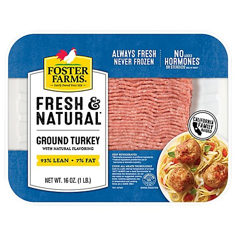 Foster Farms Fresh & Natural Ground Turkey 93% Lean 7% Fat - 16 Oz.