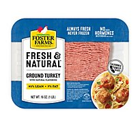 Foster Farms Fresh & Natural Turkey Ground Turkey 90% Lean 7% Fat - 16 Oz