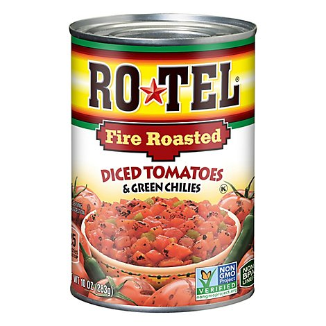 RO-TEL Diced Tomatoes & Green Chilies Fire Roasted - 10 Oz