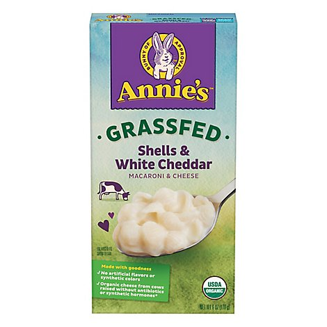 Annies Homegrown Macaroni & Cheese Organic Grass Fed Shells & White Cheddar Box - 6 Oz