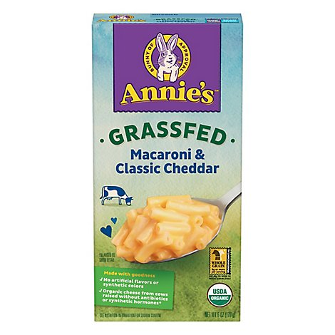 Annies Homegrown Macaroni & Cheese Organic Grass Fed Classic Mild Cheddar Box - 6 Oz