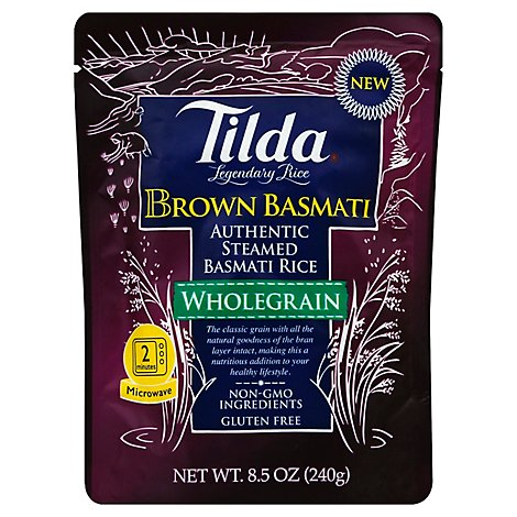 Tilda Rice Brown Basmati Wholegrain Pouch - 8.5 Oz