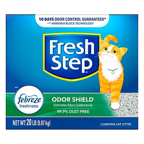 Fresh Step Cat Litter Clumping Odor Shield With Frebreze Fresh Clean Scent Box - 20 Lb