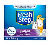 Fresh Step Cat Litter Clumping Multi Cat With Febreze Fresh Clean Scent Box - 20 Lb