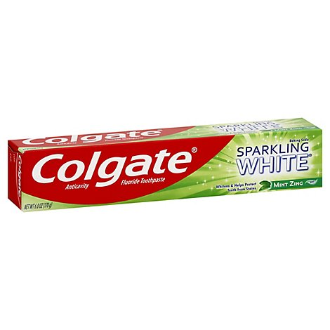 Colgate Sparkling White Toothpaste Anticavity Fluoride Baking Soda Mint Zing Gel - 6 Oz