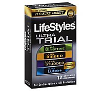 LifeStyles Lubricated Latex Condoms Ultra Trial Pleasure Variety - 12 Count