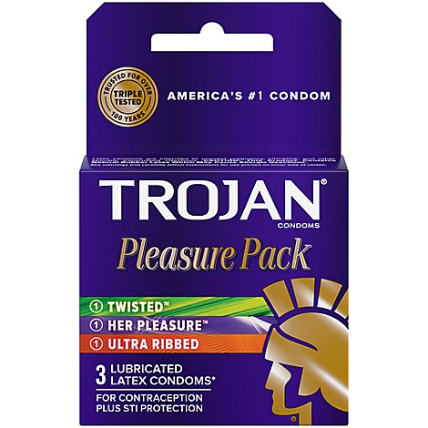 Trojan Condoms Pleasure Pack - 3 Count