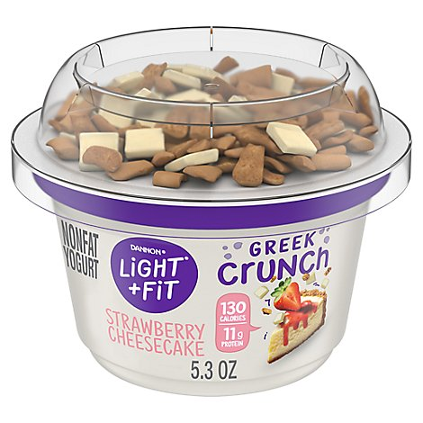Dannon Light & Fit Yogurt Nonfat Greek Crunch Strawberry Cheesecake - 5 Oz