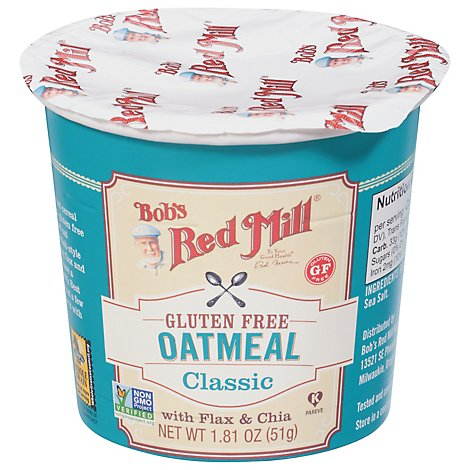 Bobs Red Mill Oatmeal Cup Gluten Free Classic With Flax & Chia - 1.81 Oz