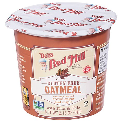 Bobs Red Mill Oatmeal Cup Gluten Free Brown Sugar & Maple - 2.15 Oz