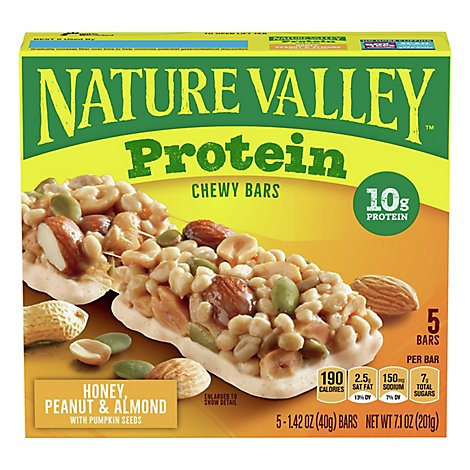 Nature Valley Protein Bars Chewy Honey Peanut Almond - 7.1 Oz