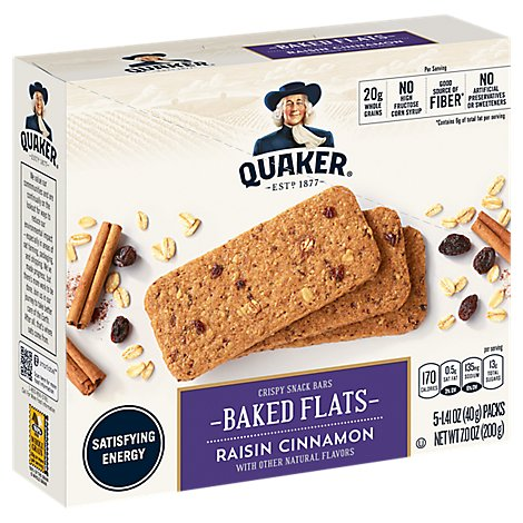 Quaker Breakfast Flats Breakfast Bars Golden Raisin Cinnamon - 5-1.4 Oz
