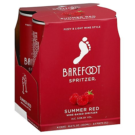 Barefoot Spritzer Summer Red Wine Cans - 4-250 Ml