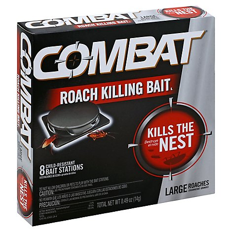 Combat Roach Killing Bait Station Large Roach - 8 Count
