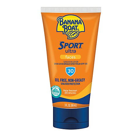 Banana Boat Ultra Sport Performance Sunscreen Lotion Face Broad Spectrum SPF 30 - 3 Oz