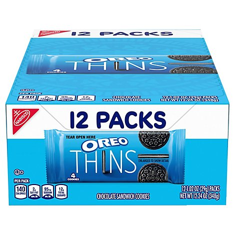 OREO Cookies Sandwich Chocolate Thins Multipack - 12-1.02 Oz