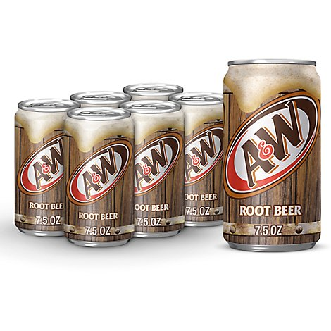 A&W Soda Root Beer In Can - 6-7.5 Fl. Oz.