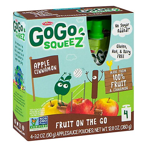GoGo squeeZ Applesauce Apple Cinnamon - 4-3.2 Oz