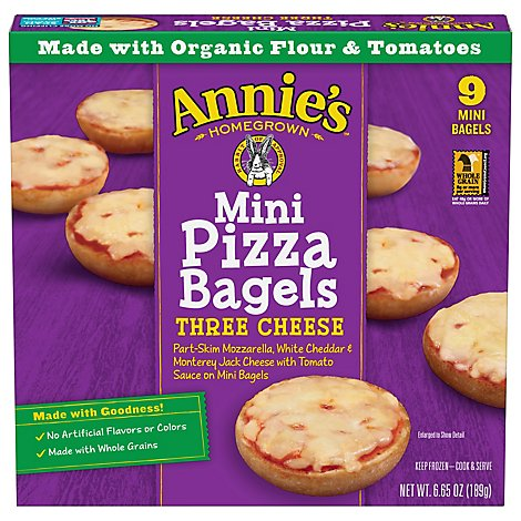 Annies Homegrown Pizza Bagels Three Cheese Mini 9 Count - 6.65 Oz