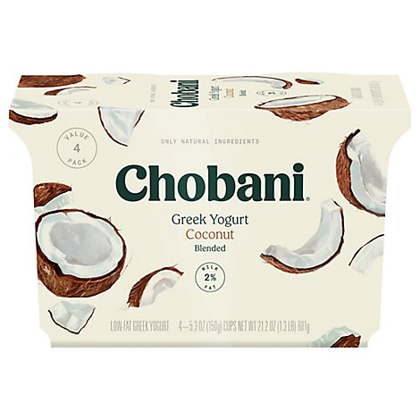 Chobani Yogurt Greek Blended Low-Fat Coconut - 4-5.3 Oz