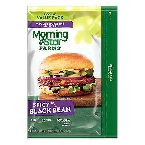 MorningStar Farms Veggie Burgers Black Bean Spicy Value Pack 8 Count - 18.9 Oz
