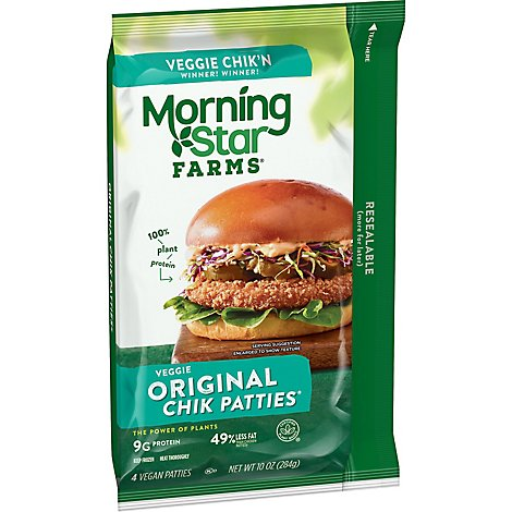 MorningStar Farms Veggie Patties Original Vegan Good Source of Protein Bag 10oz