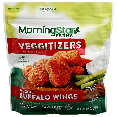 MorningStar Farms Veggie Classics Wings Buffalo Vegan Good Source of Protein Bag 10.5oz