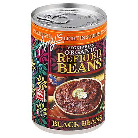 Amys Beans Refried Organic Light in Sodium Black Beans Can - 15.4 Oz