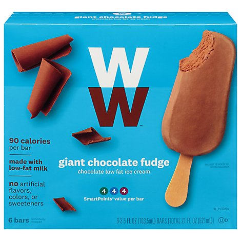 Weight Watchers Ice Cream Bars Low Fat Giant Chocolate Fudge - 6-3.5 Fl. Oz.