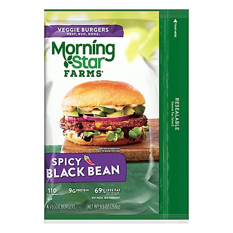 MorningStar Farms Veggie Burgers Spicy Black Bean 4Ct 9.5oz