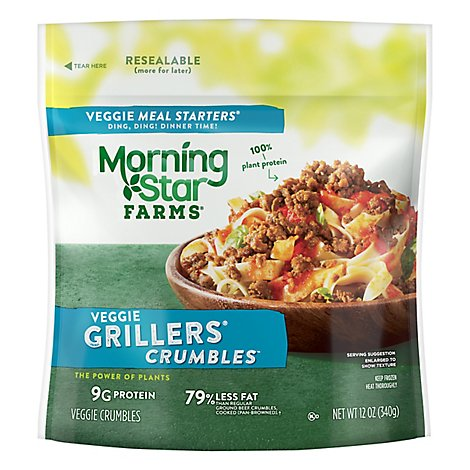 MorningStar Farms Veggie Meal Starters Crumbles Grillers Original - 12 Oz