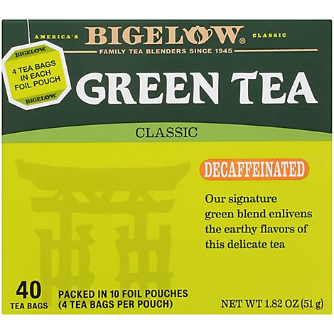 Bigelow Green Tea Classic Decaffeinated - 40 Count